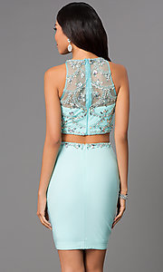 Image of Two Piece Aqua Jewel Embellished Cocktail Dress Style: CD-1334 Back Image