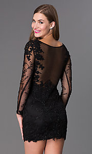 Image of Long Sleeve Short Black Prom Dress Style: DJ-1721 Back Image