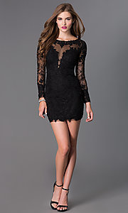 Image of Long Sleeve Short Black Prom Dress Style: DJ-1721 Detail Image 1