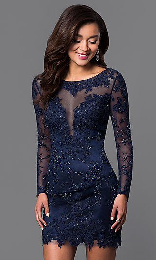 Dave and Johnny Long Sleeve Short Black Prom Dress