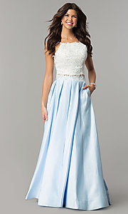Image of two-piece ivory lace-top ball gown Style: DJ-1435 Detail Image 3