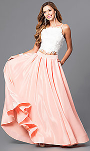 Image of two-piece ivory lace-top ball gown Style: DJ-1435 Detail Image 2