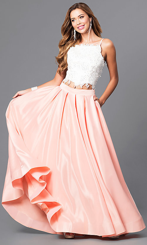 Two-Piece Ivory Lace-Top Ball Gown