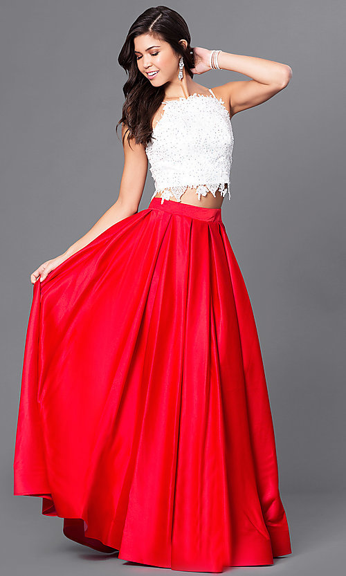 Image of two-piece ivory lace-top ball gown Style: DJ-1435 Front Image
