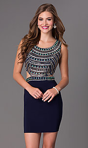 Image of Short Beaded Navy Cocktail Dress Style: DJ-2230 Detail Image 1