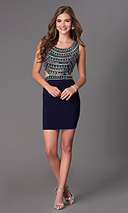 Image of Short Beaded Navy Cocktail Dress Style: DJ-2230 Detail Image 2