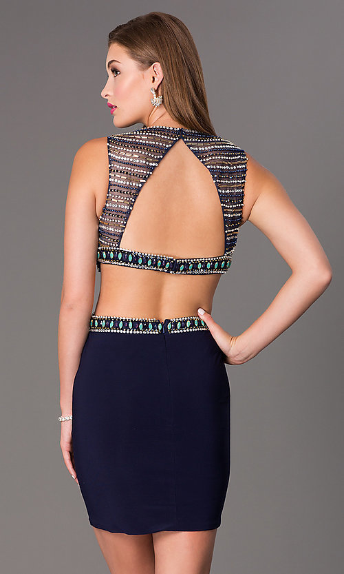 Image of Short Beaded Navy Cocktail Dress Style: DJ-2230 Back Image