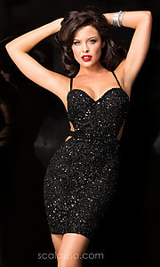 Image of Short Sweetheart Neckline Fully Sequined Cocktail Dress with Open Back Style: Scala-48544 Detail Image 2