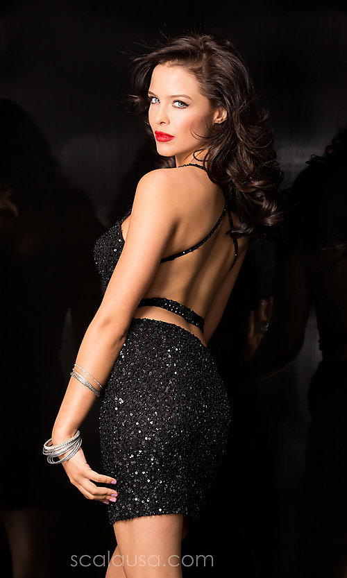 Image of Short Sweetheart Neckline Fully Sequined Cocktail Dress with Open Back Style: Scala-48544 Back Image
