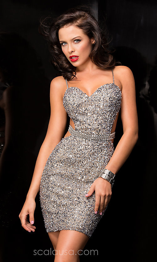 Image of Short Sweetheart Neckline Fully Sequined Cocktail Dress with Open Back Style: Scala-48544 Detail Image 1