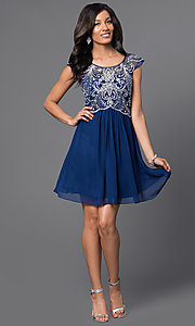 Image of cap-sleeve scoop-neck short cocktail dress Style: PO-7123 Detail Image 1