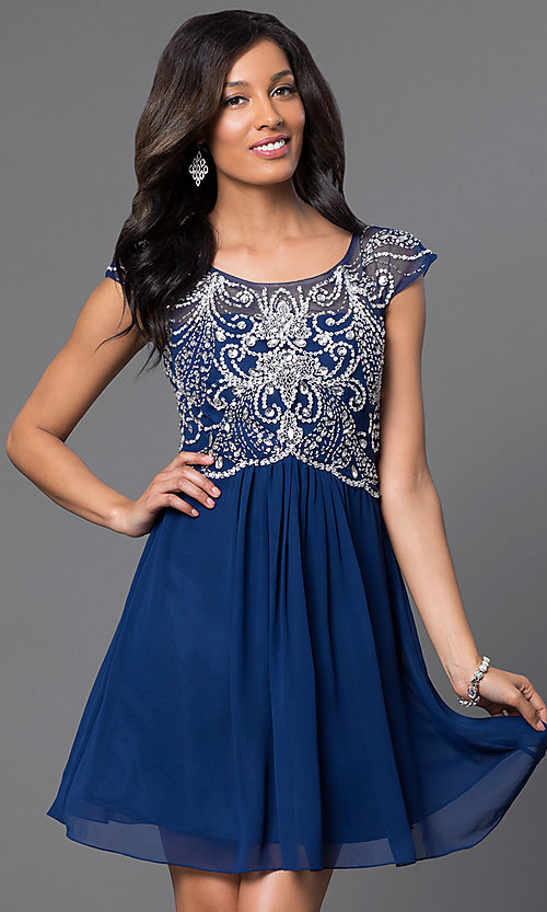 Image of cap-sleeve scoop-neck short cocktail dress Style: PO-7123 Front Image