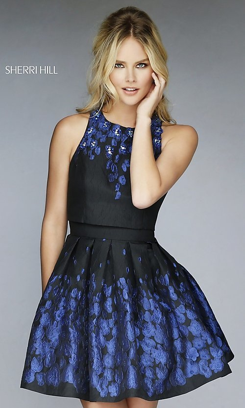 Image of Black Print Short Beaded Party Dress Style: SH-9744 Front Image