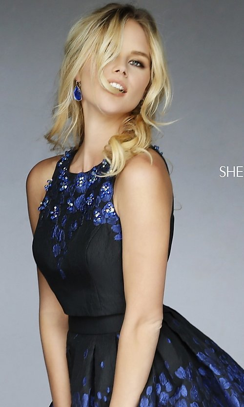 Image of Black Print Short Beaded Party Dress Style: SH-9744 Detail Image 1