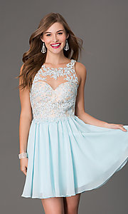 Image of Short Sleeveless Dress with Beaded Lace Bodice Style: DQ-9102 Detail Image 4