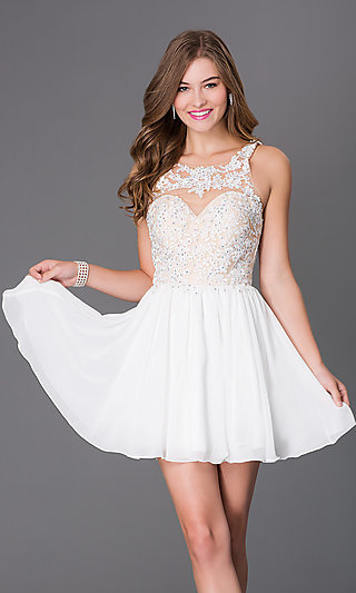 Short white chiffon party dress with illusion lace for Short white wedding dresses under 100