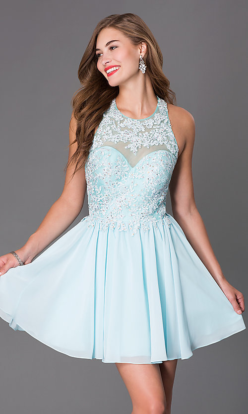 Image of Short Sleeveless Dress with Beaded Lace Bodice Style: DQ-9102 Detail Image 1