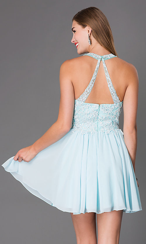 Image of Short Sleeveless Dress with Beaded Lace Bodice Style: DQ-9102 Back Image