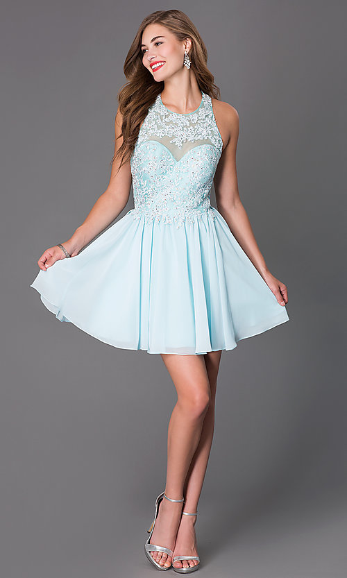 Image of Short Sleeveless Dress with Beaded Lace Bodice Style: DQ-9102 Detail Image 2