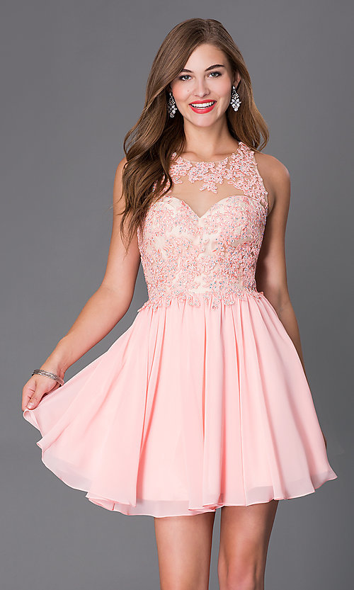 Image of Short Sleeveless Dress with Beaded Lace Bodice Style: DQ-9102 Front Image