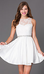 Image of short beaded-waist lace cocktail dress Style: PO-7214 Detail Image 1