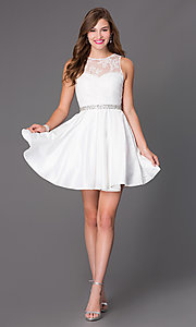 Image of short beaded-waist lace cocktail dress Style: PO-7214 Detail Image 2