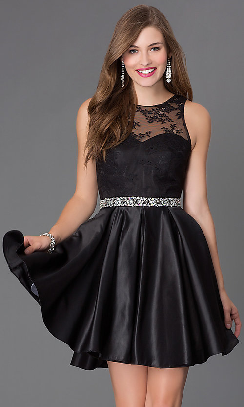 Image of short beaded-waist lace cocktail dress Style: PO-7214 Front Image