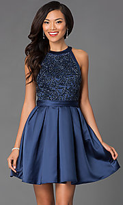 Image of Beaded High Neck Short Fit and Flare Dress Style: PO-7242 Front Image