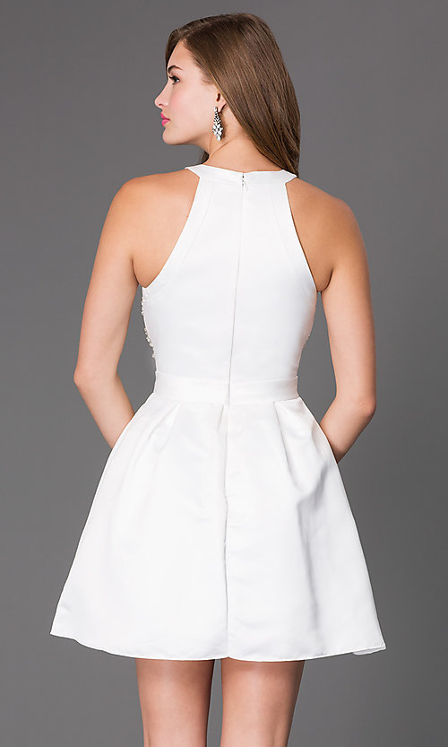Image of Beaded High Neck Short Fit and Flare Dress Style: PO-7242 Back Image