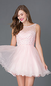 Image of short pastel baby-doll party dress Style: DQ-9118 Front Image