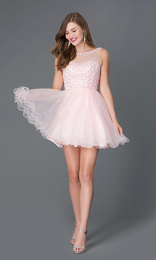 Image of short pastel baby-doll party dress Style: DQ-9118 Detail Image 1