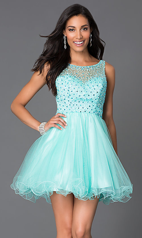 Image of short pastel baby-doll party dress Style: DQ-9118 Detail Image 2