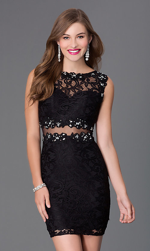 Image of Short Bateau Neck Lace Party Dress Style: DQ-9099 Front Image