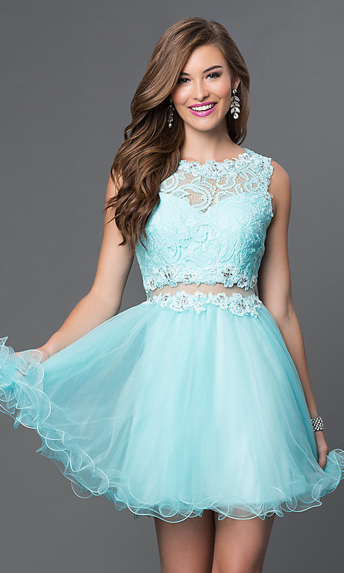 Image of Short Embroidered Babydoll Dress Style: DQ-9080 Detail Image 3