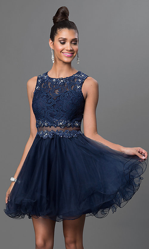 Image of Short Embroidered Babydoll Dress Style: DQ-9080 Detail Image 4