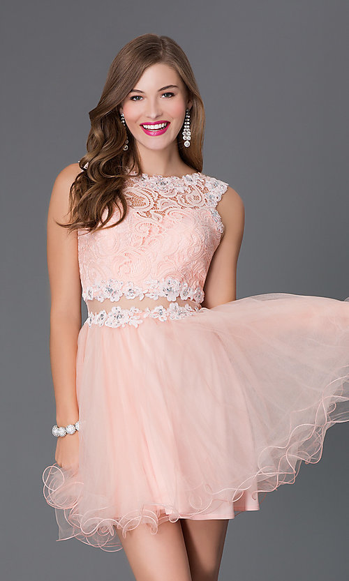 Image of Short Embroidered Babydoll Dress Style: DQ-9080 Detail Image 1