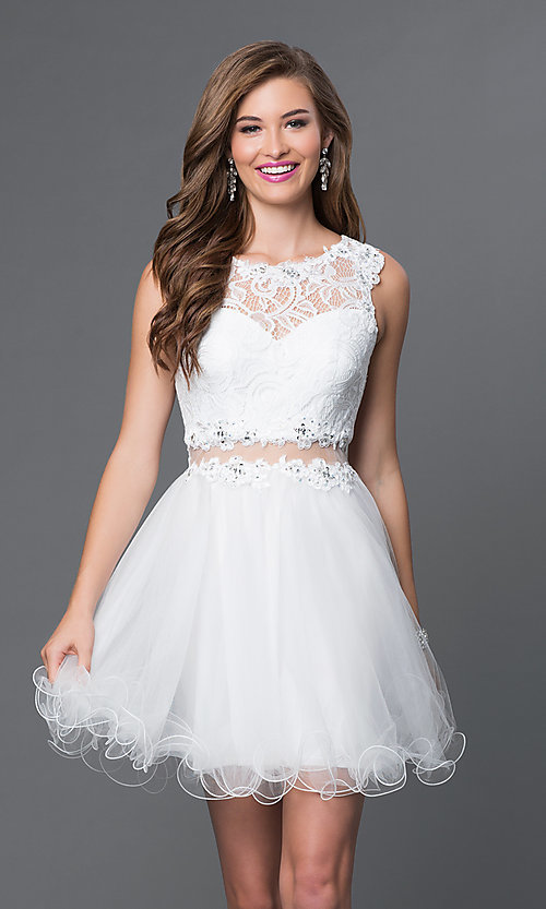 Image of Short Embroidered Babydoll Dress Style: DQ-9080 Detail Image 2
