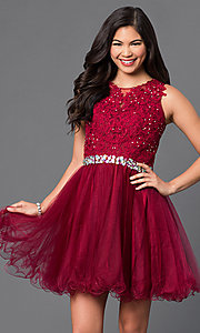 Image of Short Lace Top Beaded Prom Dress Style: DQ-9159 Detail Image 1