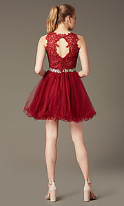 Image of Short Lace Top Beaded Prom Dress Style: DQ-9159 Back Image