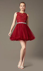 Image of Short Lace Top Beaded Prom Dress Style: DQ-9159 Detail Image 2