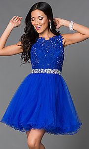 Image of Short Lace Top Beaded Prom Dress Style: DQ-9159 Detail Image 3