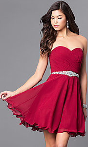 Image of Short Beaded Lace Up Bodice Semi Formal Dress Style: DQ-9115 Detail Image 1