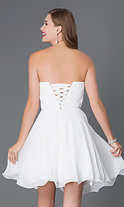 Image of Short Beaded Lace Up Bodice Semi Formal Dress Style: DQ-9115 Back Image