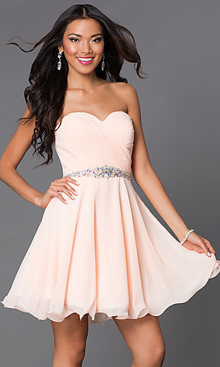 Short Beaded Semi Formal Lace Up Bodice Dress