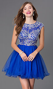 Image of Cap Sleeve Beaded Short Party Dress Style: DQ-9149 Detail Image 1
