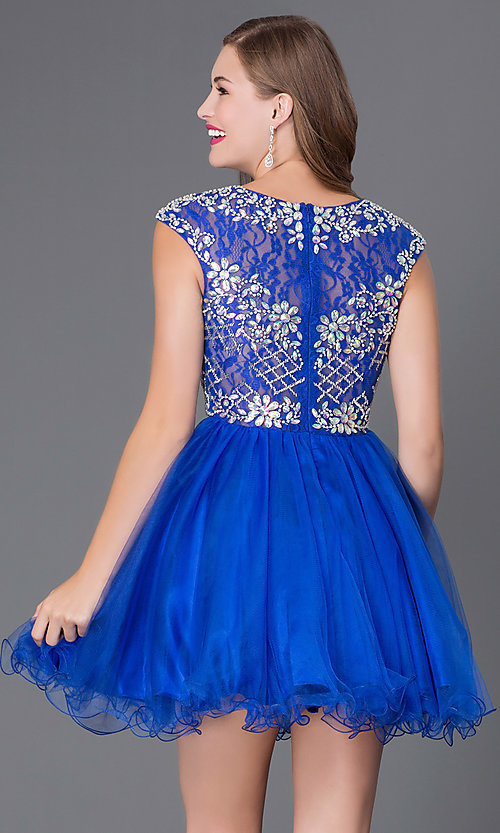 Image of Cap Sleeve Beaded Short Party Dress Style: DQ-9149 Back Image