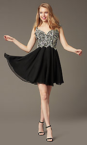 Image of Short Beaded Cap Sleeve Backless Dress Style: DQ-9160 Detail Image 2