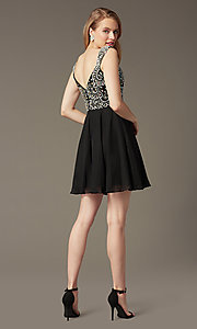 Image of Short Beaded Cap Sleeve Backless Dress Style: DQ-9160 Detail Image 3