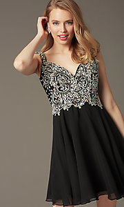 Image of Short Beaded Cap Sleeve Backless Dress Style: DQ-9160 Detail Image 4