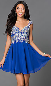 Image of Short Beaded Cap Sleeve Backless Dress Style: DQ-9160 Detail Image 1